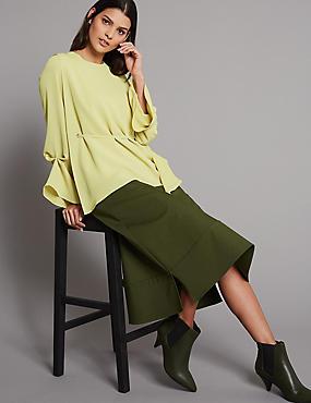 Cotton Rich A-Line Midi Skirt , MEDIUM KHAKI, catlanding
