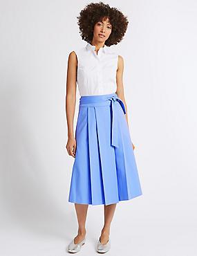 Cotton Rich Belted Full Midi Skirt, CORNFLOWER, catlanding