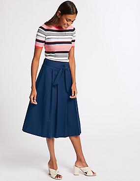 Cotton Rich Belted Full Midi Skirt, NAVY, catlanding