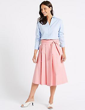 Cotton Rich Belted Full Midi Skirt, ROSE PINK, catlanding