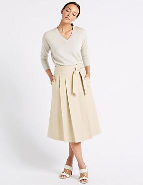 Cotton Rich Belted Full Midi Skirt, CAMEL, catlanding