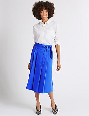 Cotton Rich Belted Full Midi Skirt, ROYAL BLUE, catlanding