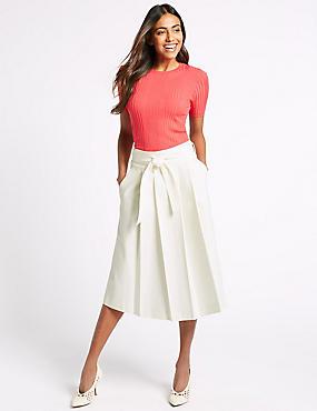 Cotton Rich Belted Full Midi Skirt, WINTER WHITE, catlanding