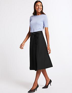 Cotton Rich Belted Full Midi Skirt, BLACK, catlanding