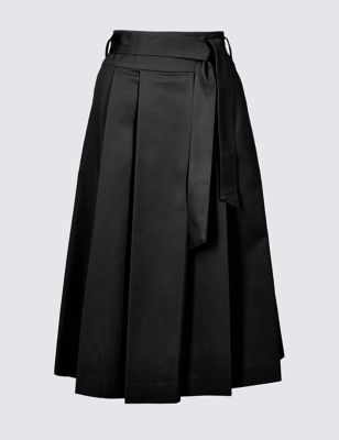 Cotton Rich Belted Full Midi Skirt by Marks & Spencer
