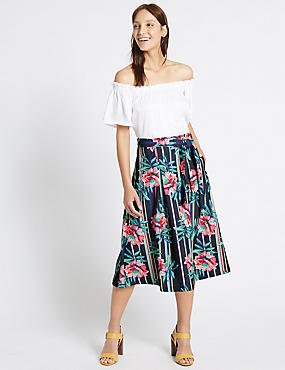 Striped Floral A-Line Midi Skirt