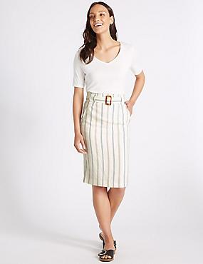 Linen Blend Striped Pencil Skirt , IVORY MIX, catlanding