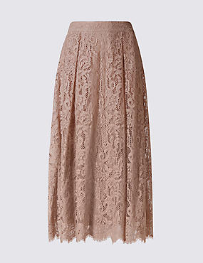 Cotton Blend Lace A-Line Skirt