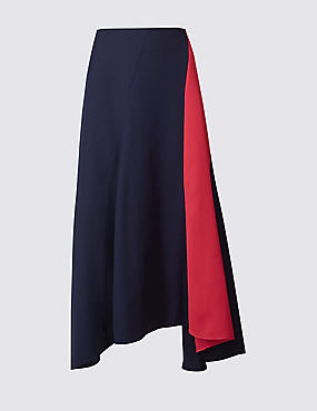 Colour Block Fluted Asymmetrical Midi Skirt