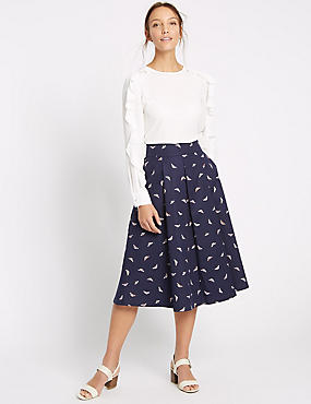 Cotton Rich Insect Print A-Line Midi Skirt