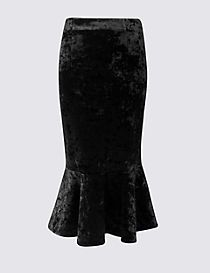 Velvet Fishtail Midi Skirt