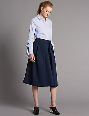 Tie Front Wrap A-Line Midi Skirt