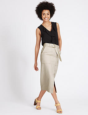 Cotton Blend Belted Pencil Midi Skirt