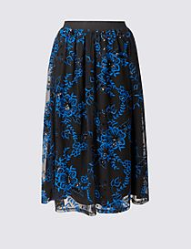 Embroidered Mesh A-Line Midi Skirt