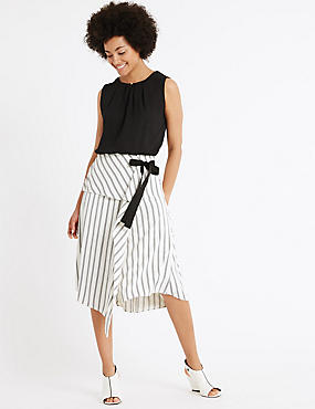 Asymmetric Striped A-Line Midi Skirt