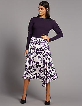 Ink Print Asymmetrical Midi Skirt