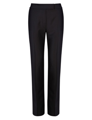 Wool Rich Straight Leg Trousers Clothing