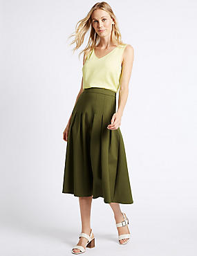 Cotton Blend Box Pleated A-Line Midi Skirt