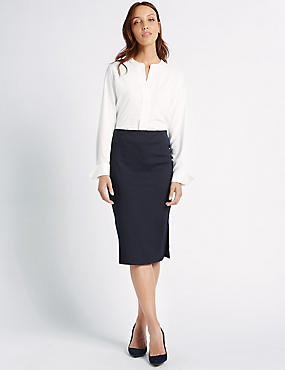 Side Split Pencil Midi Skirt