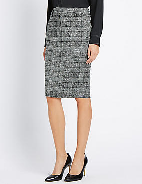 Welt Pocket Checked Knee Skirt