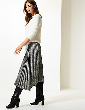 Checked Asymmetric Pleated Midi Skirt , BLACK MIX, catlanding