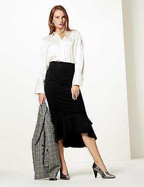 Ponte Fishtail Midi Skirt , BLACK, catlanding