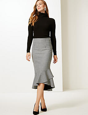 Checked Fishtail Midi Skirt, BLACK MIX, catlanding
