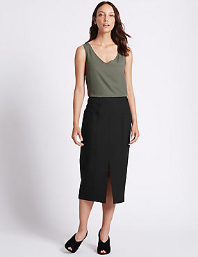Front Split Patch Pocket Pencil Midi Skirt