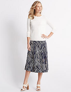 Animal Print Jersey A-Line Midi Skirt, BLACK MIX, catlanding