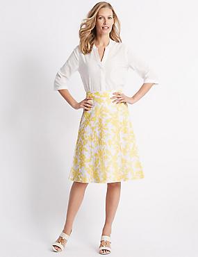 Pure Cotton Broderie A-Line Midi Skirt, WHITE MIX, catlanding