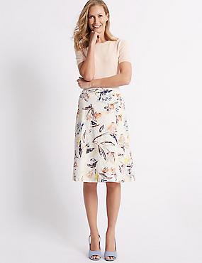 Pure Cotton Floral Broderie A-Line Midi Skirt, PALE BLUE MIX, catlanding