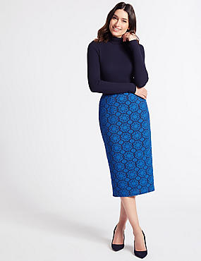 Lace Pencil Midi Skirt , BLUE, catlanding