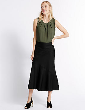 Linen Blend Bias Cut A-Line Midi Skirt