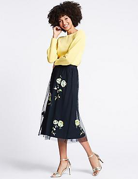 Embroidered Full Midi Skirt , NAVY MIX, catlanding