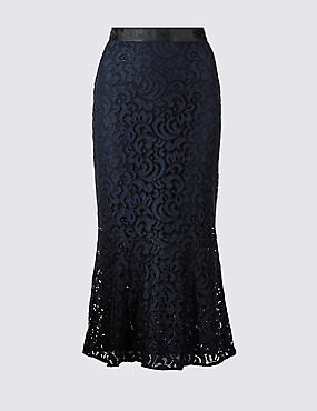 Cotton Blend Flared Lace Pencil Midi Skirt