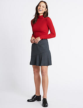 Checked Ruffle A-Line Mini Skirt