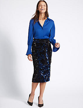 Embellished Sequin Pencil Midi Skirt