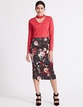Floral Print Pencil Skirt , BLACK MIX, catlanding