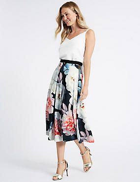 Floral Print Full Skirt, GREY MIX, catlanding