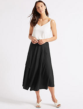Linen Rich Deconstructed Wrap Midi Skirt