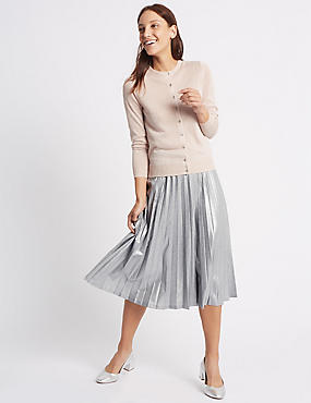 Pleated Metallic A-Line Midi Skirt