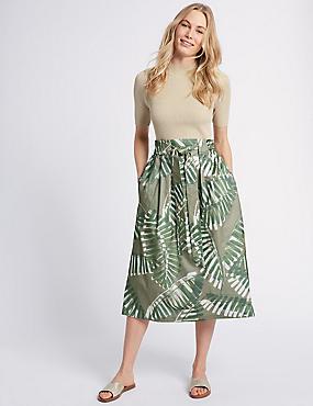 Cotton Rich Palm Print A-Line Midi Skirt , OLIVE MIX, catlanding