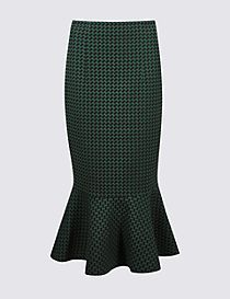 Cotton Blend Printed Fishtail Skirt