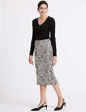 Leopard Print Satin Pencil Midi Skirt