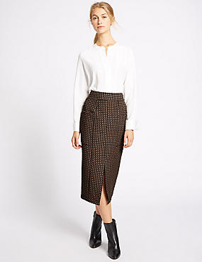 Front Split Printed Pencil Midi Skirt