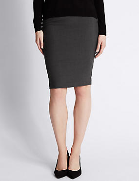 Front Twin Zip Pockets Pencil Skirt