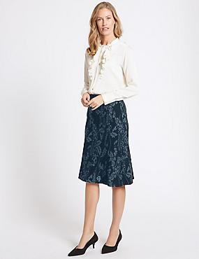 Jacquard Print A-Line Midi Skirt, BLUE MIX, catlanding