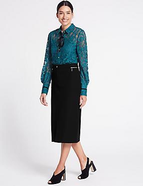 Cotton Rich Pencil Midi Skirt, BLACK, catlanding