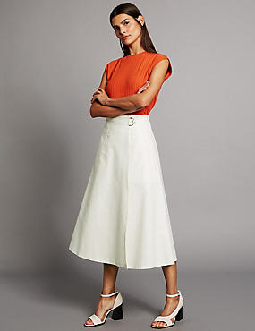 Cotton Rich Wrap Detail A-Line Midi Skirt