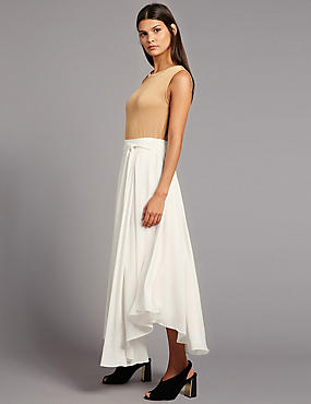 Tie Side A-Line Midi Skirt